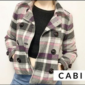 Cabi Pink Purple Plaid Double Breasted Jacket H120